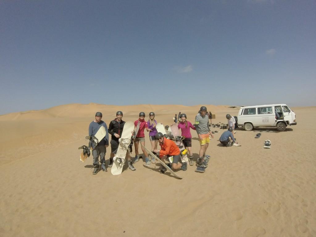 Sandboarding Spaß in Namibia
